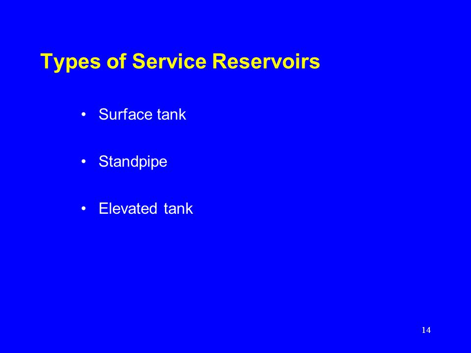 Types of Service Reservoirs