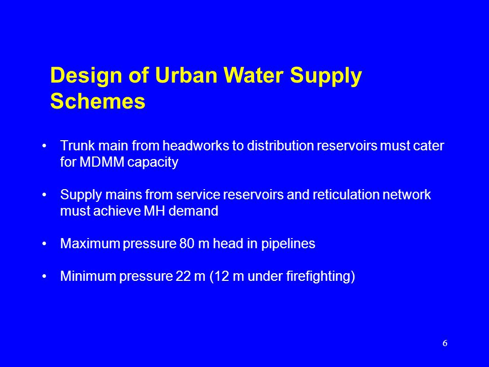 Design of Urban Water Supply Schemes