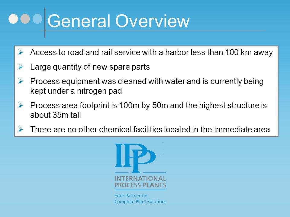 General Overview Access to road and rail service with a harbor less than 100 km away. Large quantity of new spare parts.