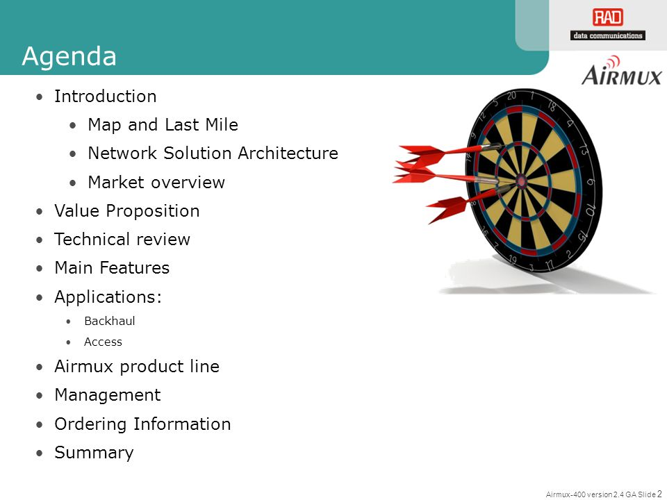 Agenda Introduction Map and Last Mile Network Solution Architecture