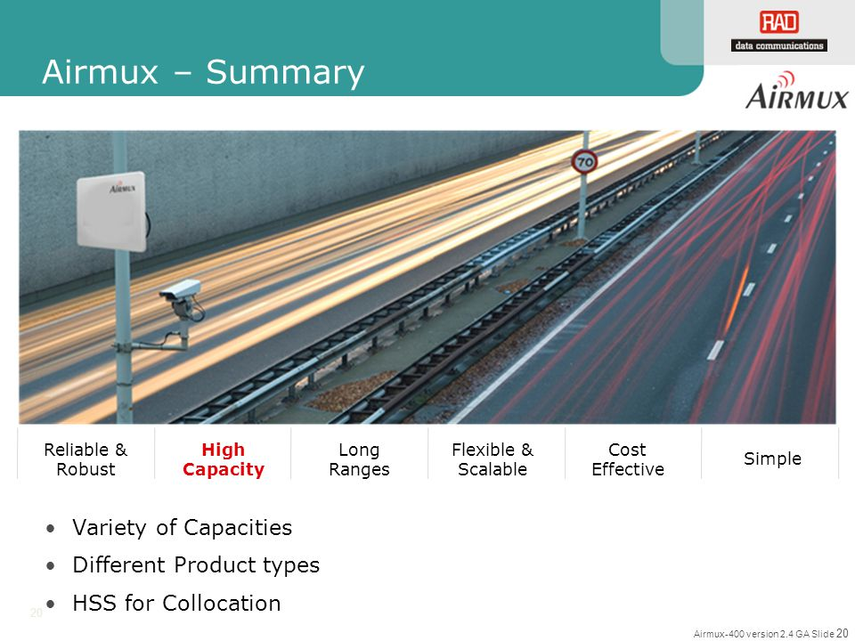 Airmux – Summary Variety of Capacities Different Product types