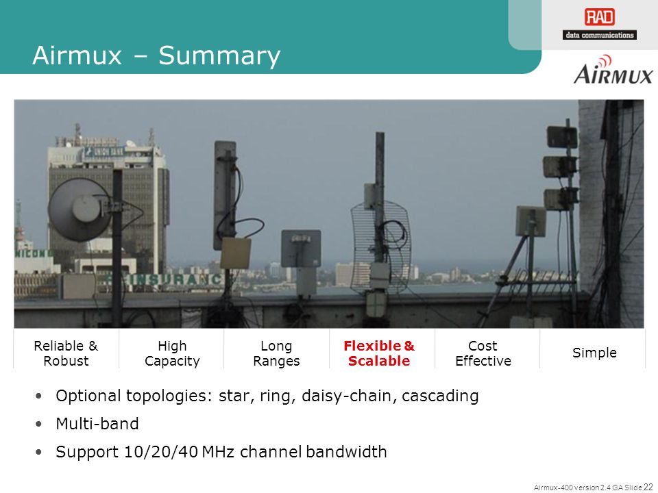 Airmux – Summary Reliable & Robust. High Capacity. Long Ranges. Flexible & Scalable. Cost Effective.