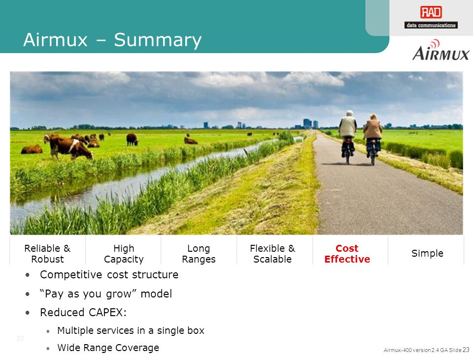 Airmux – Summary Competitive cost structure Pay as you grow model