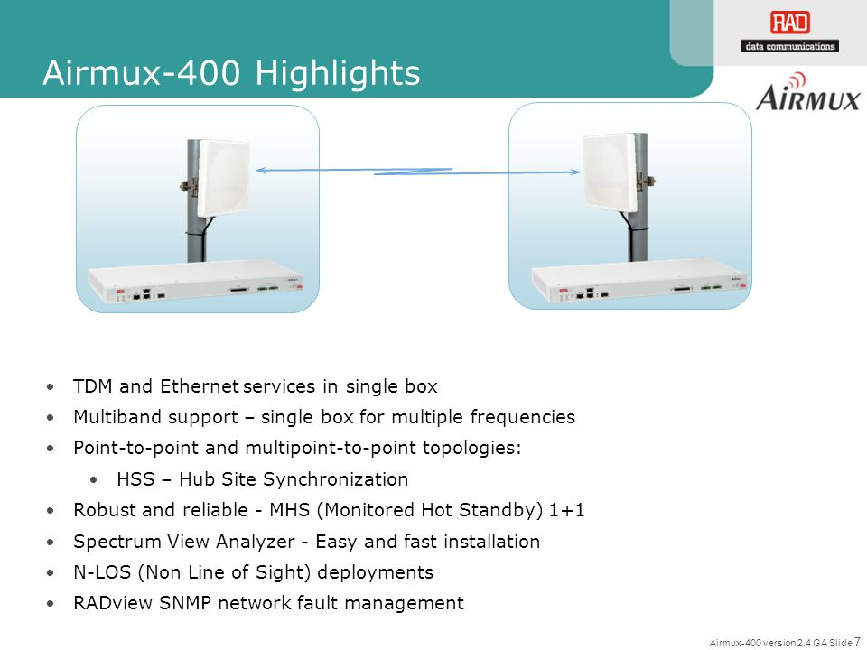 Airmux-400 Highlights TDM and Ethernet services in single box
