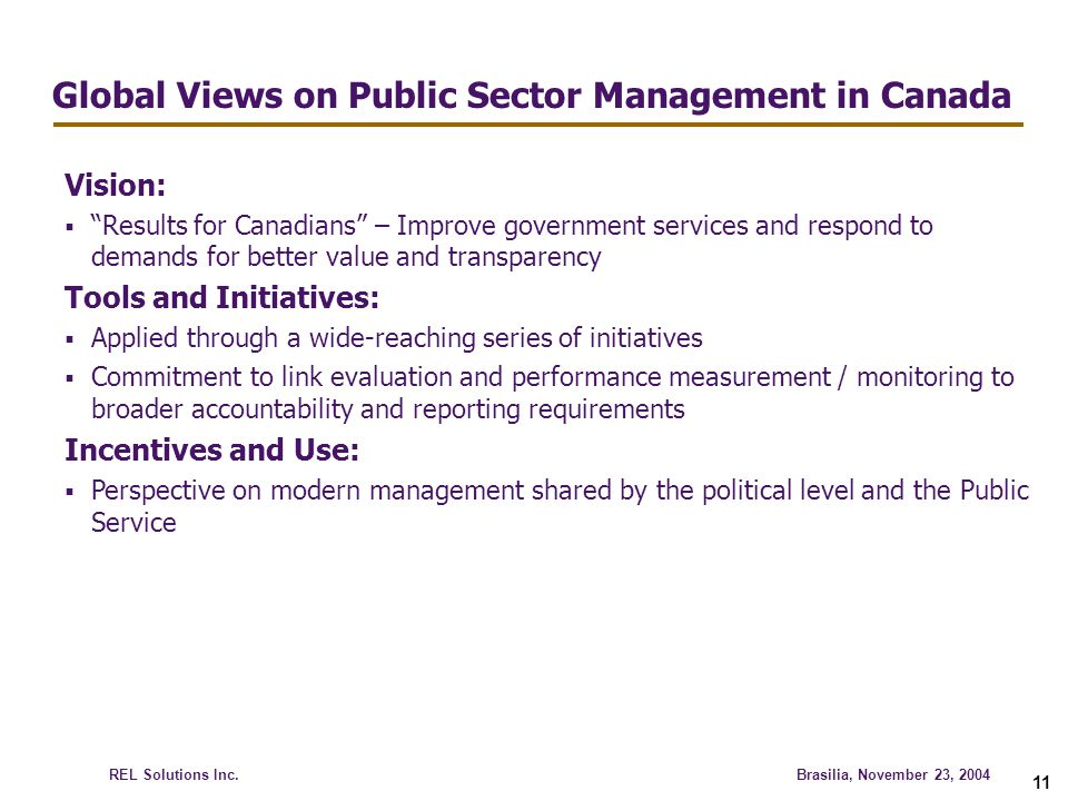Global Views on Public Sector Management in Canada