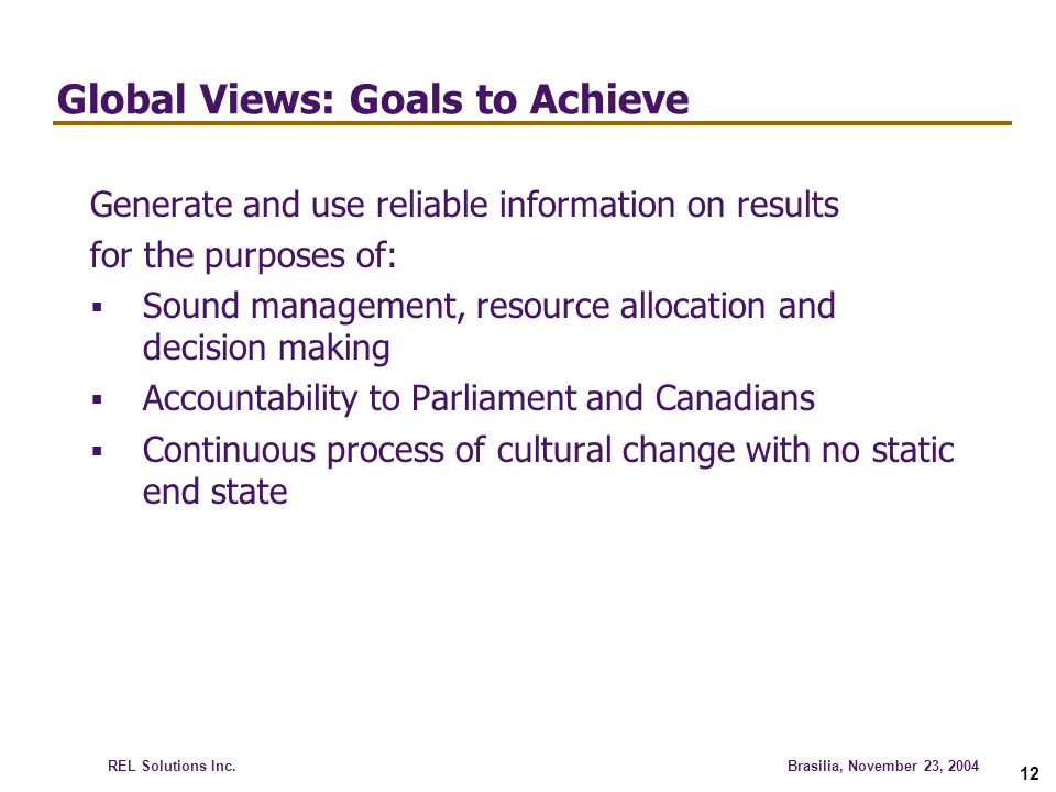 Global Views: Goals to Achieve