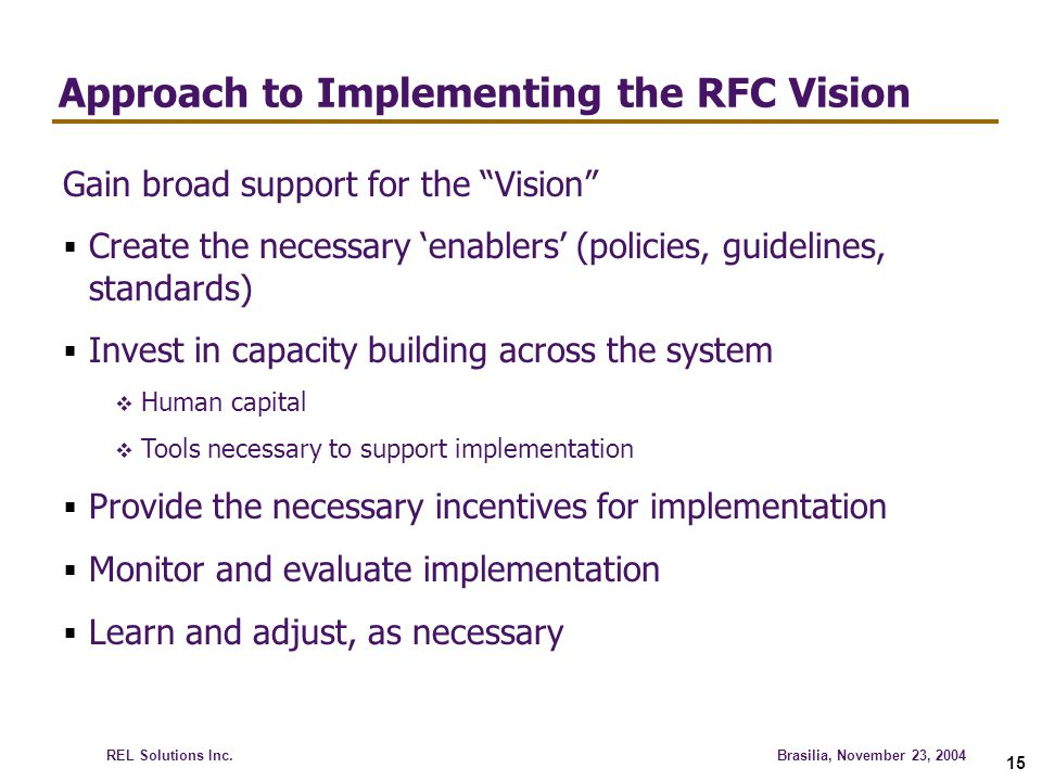 Approach to Implementing the RFC Vision