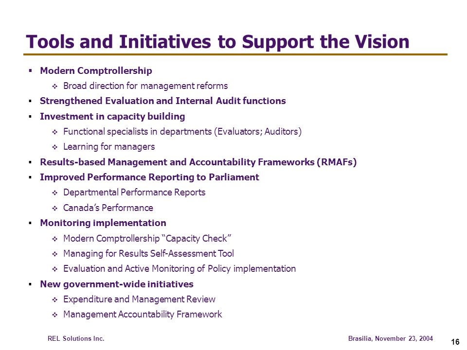 Tools and Initiatives to Support the Vision