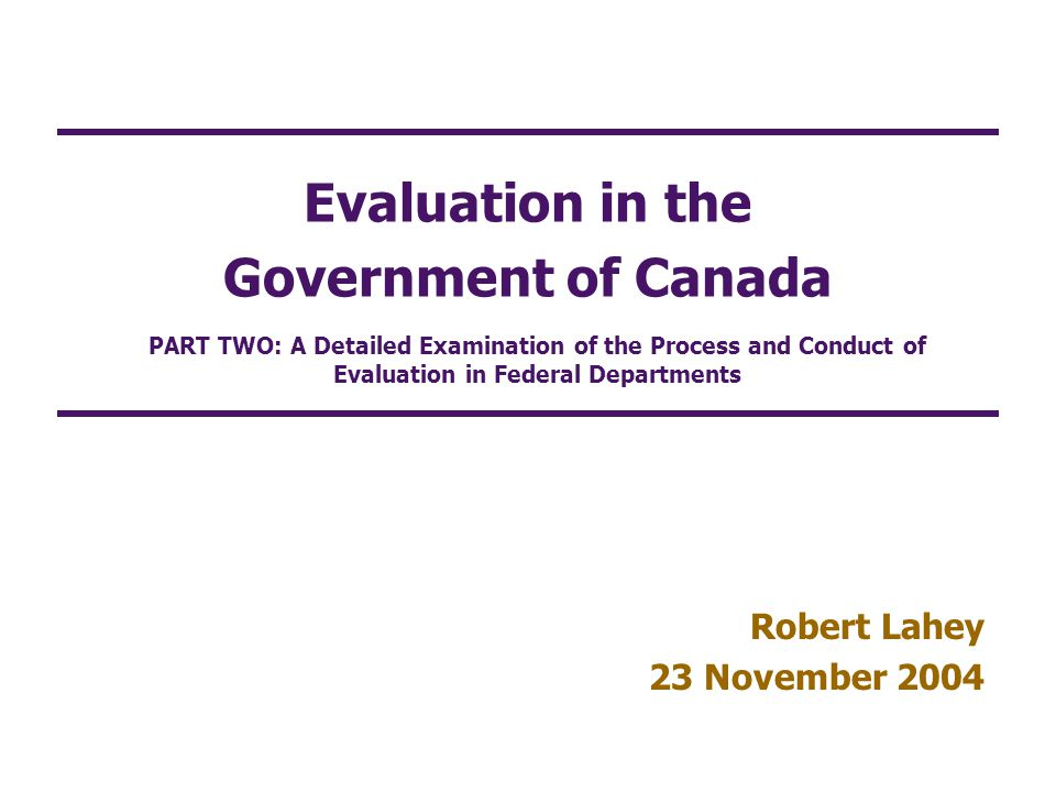 Evaluation in the Government of Canada