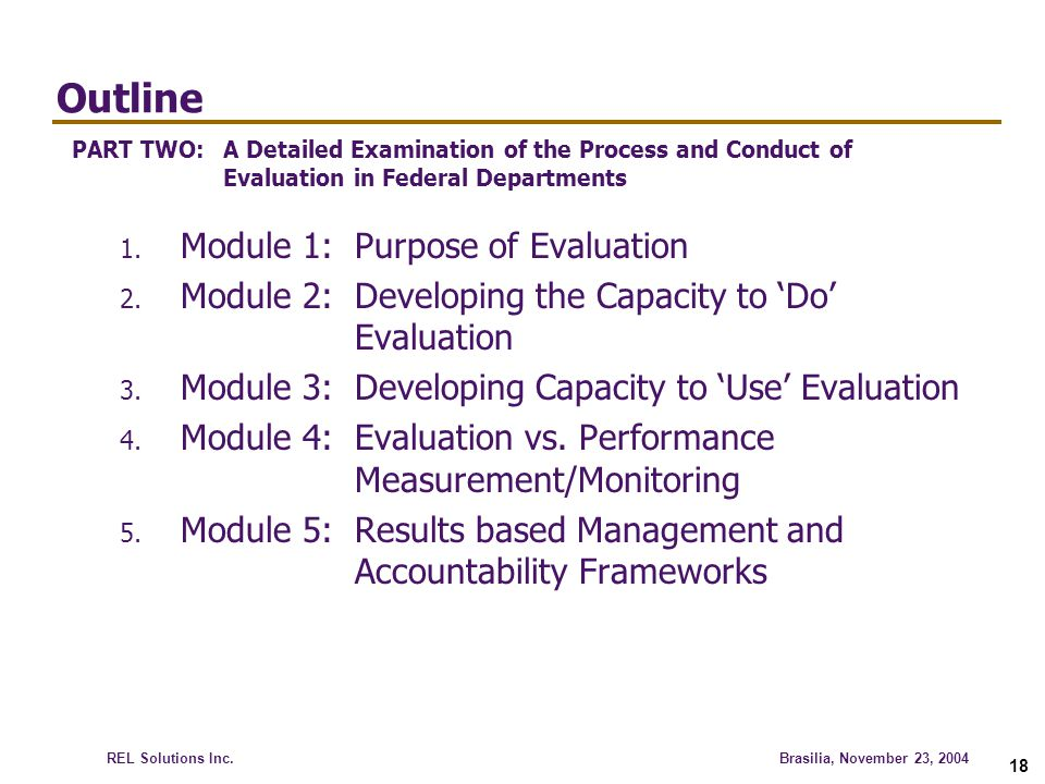 Outline Module 1: Purpose of Evaluation