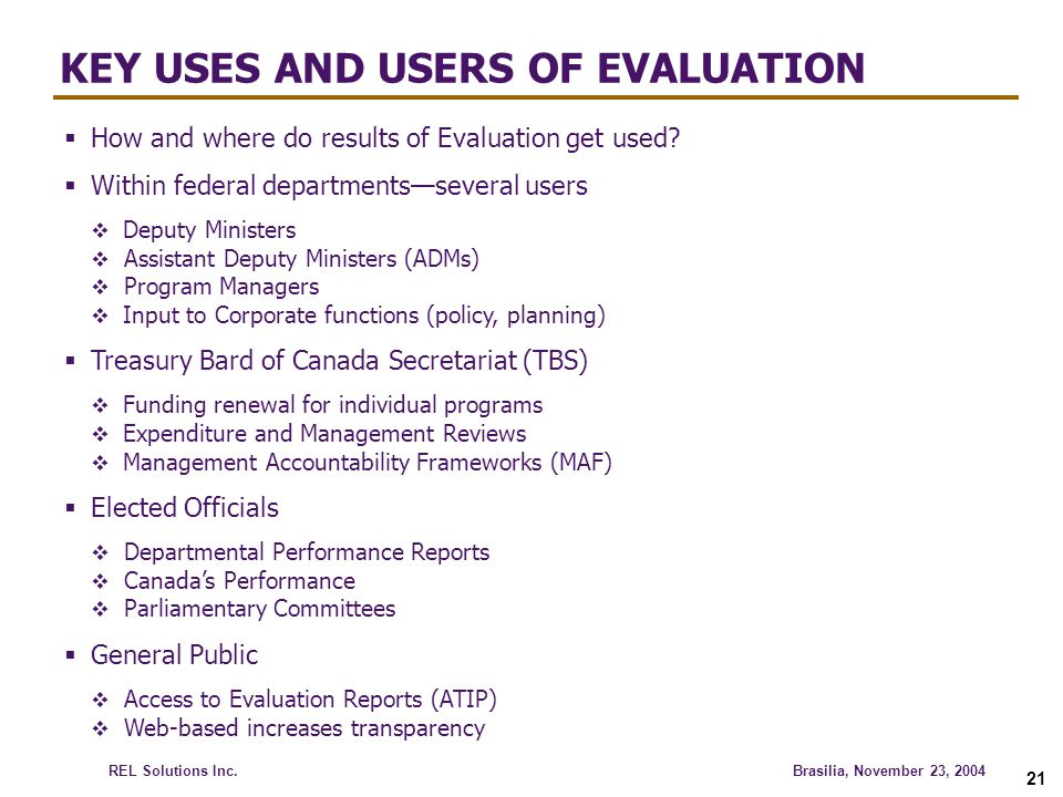 KEY USES AND USERS OF EVALUATION