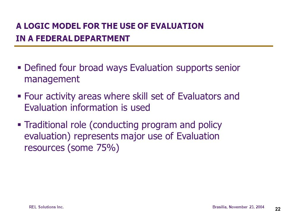 Defined four broad ways Evaluation supports senior management