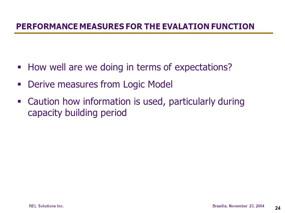 PERFORMANCE MEASURES FOR THE EVALATION FUNCTION