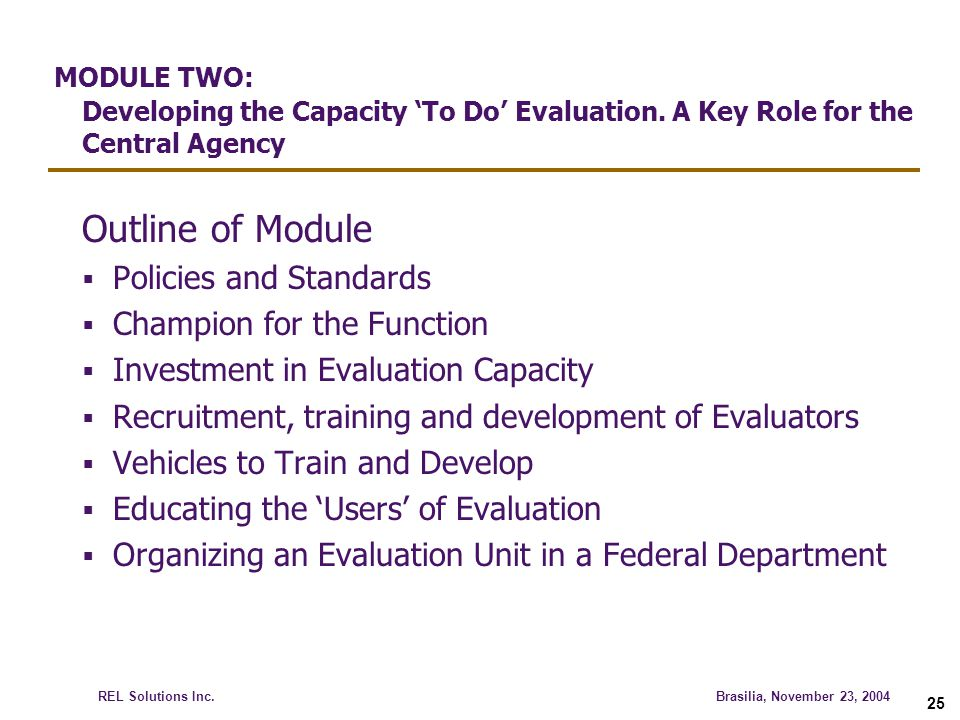 MODULE TWO: Developing the Capacity 'To Do' Evaluation
