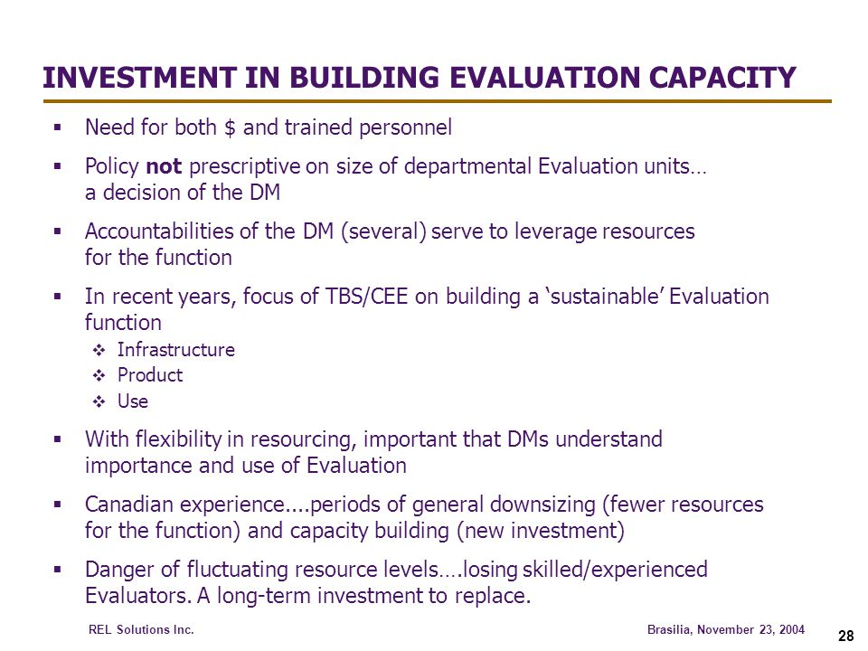 INVESTMENT IN BUILDING EVALUATION CAPACITY