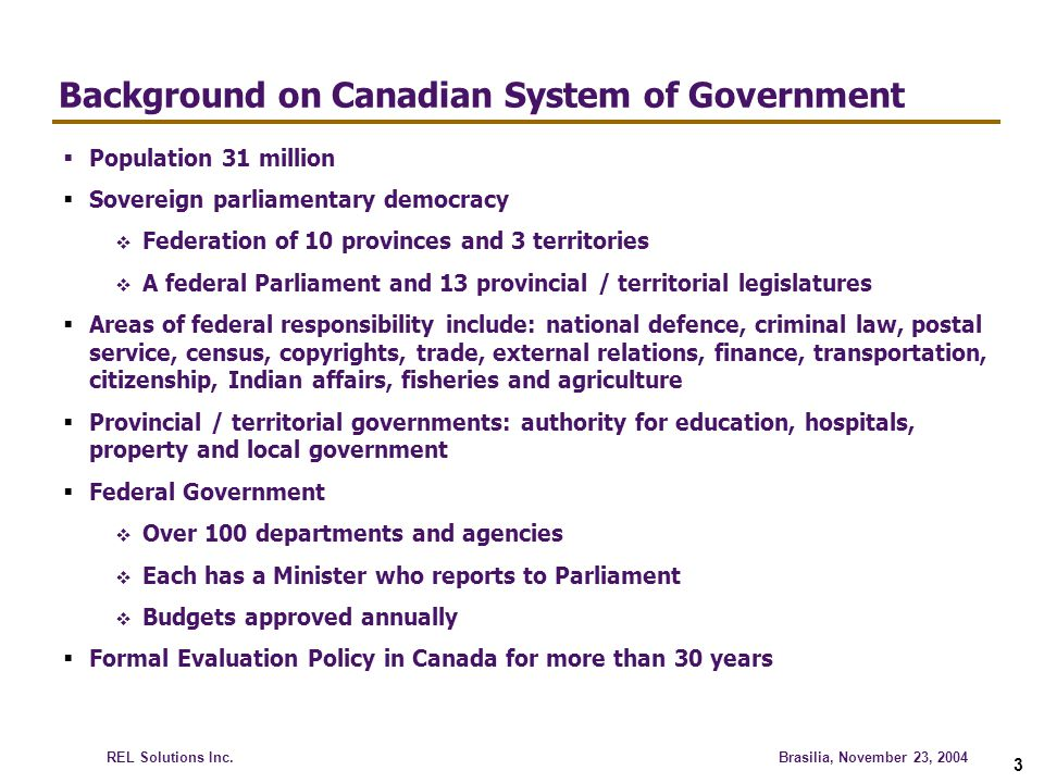 Background on Canadian System of Government