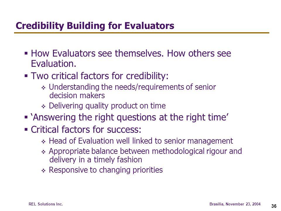 Credibility Building for Evaluators