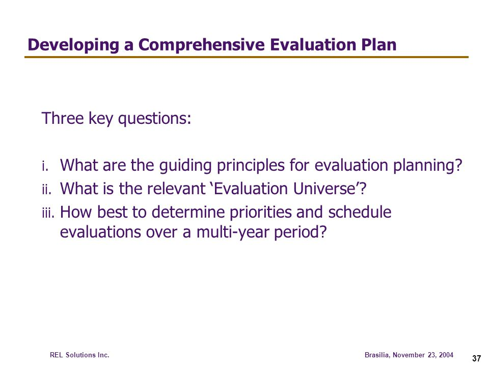 Developing a Comprehensive Evaluation Plan