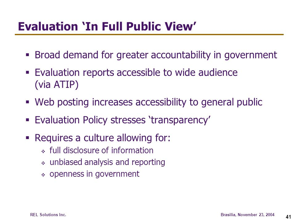 Evaluation 'In Full Public View'