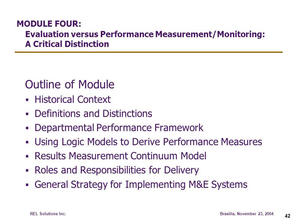MODULE FOUR: Evaluation versus Performance Measurement/Monitoring: A Critical Distinction