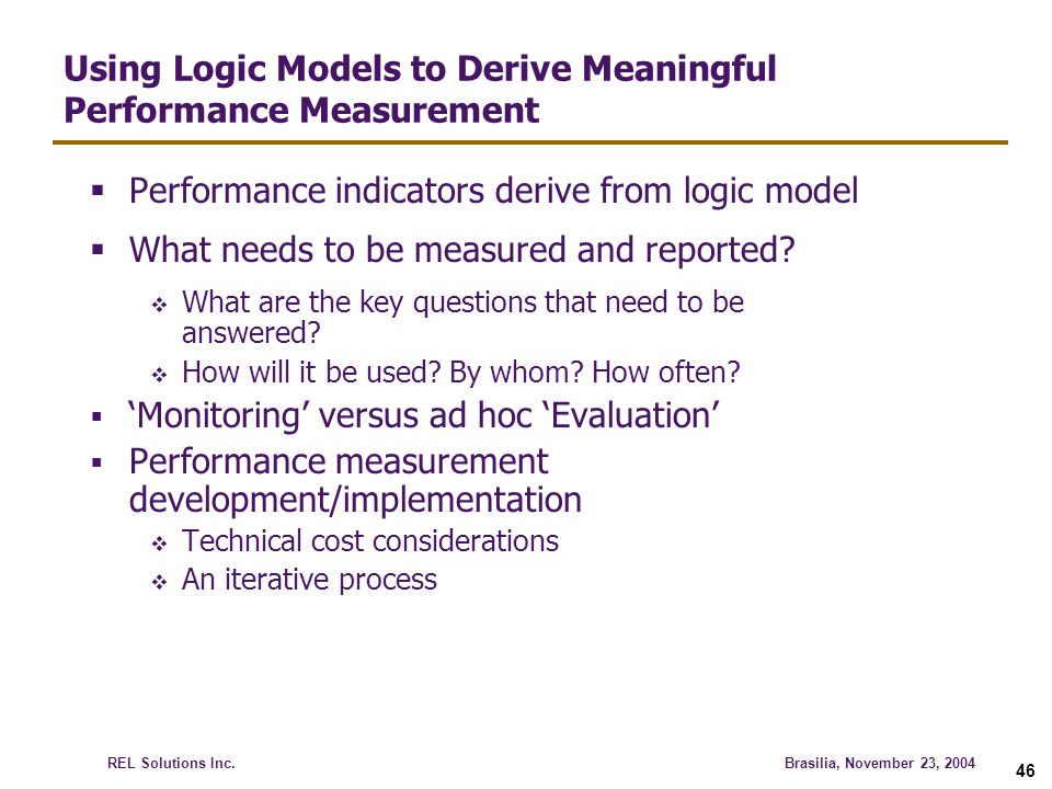 Using Logic Models to Derive Meaningful Performance Measurement