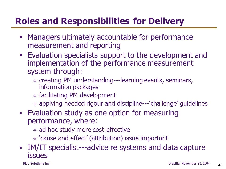 Roles and Responsibilities for Delivery