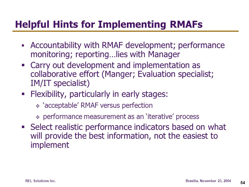 Helpful Hints for Implementing RMAFs