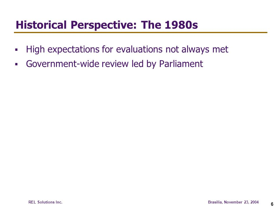 Historical Perspective: The 1980s