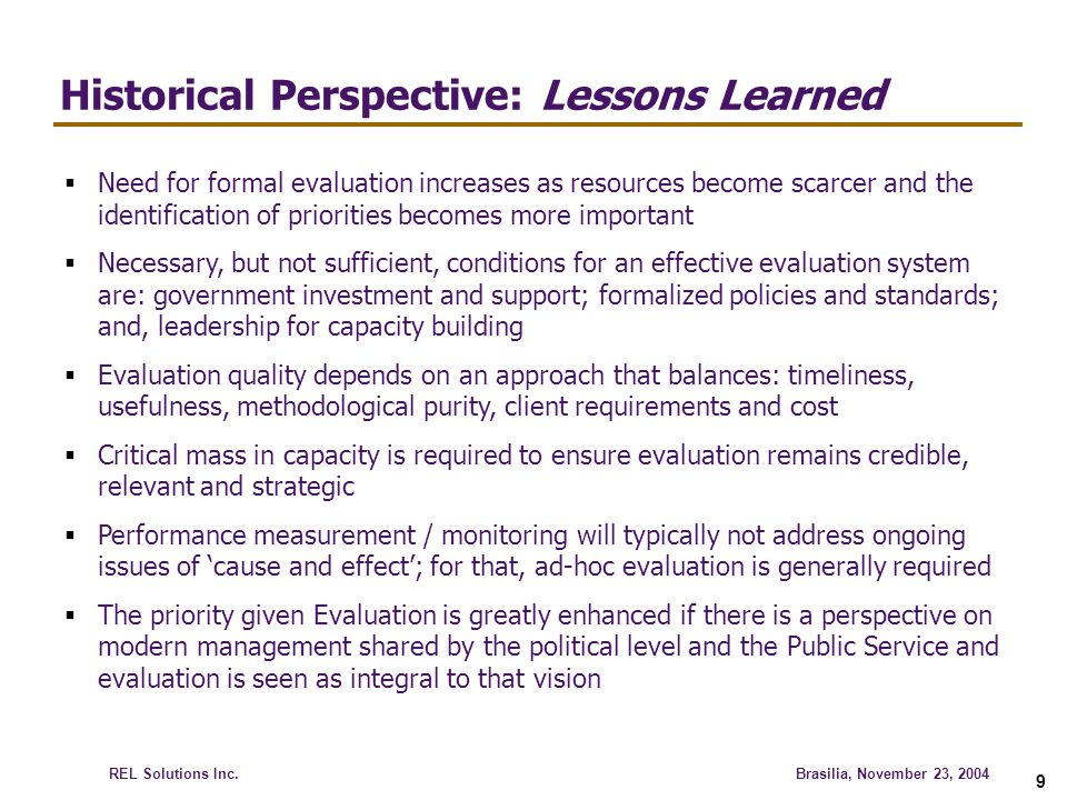 Historical Perspective: Lessons Learned