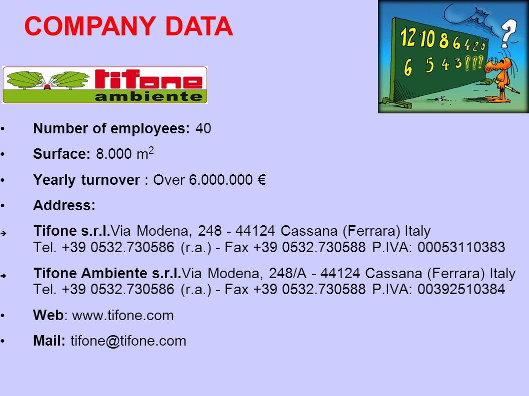 COMPANY DATA Number of employees: 40 Surface: 8.000 m2
