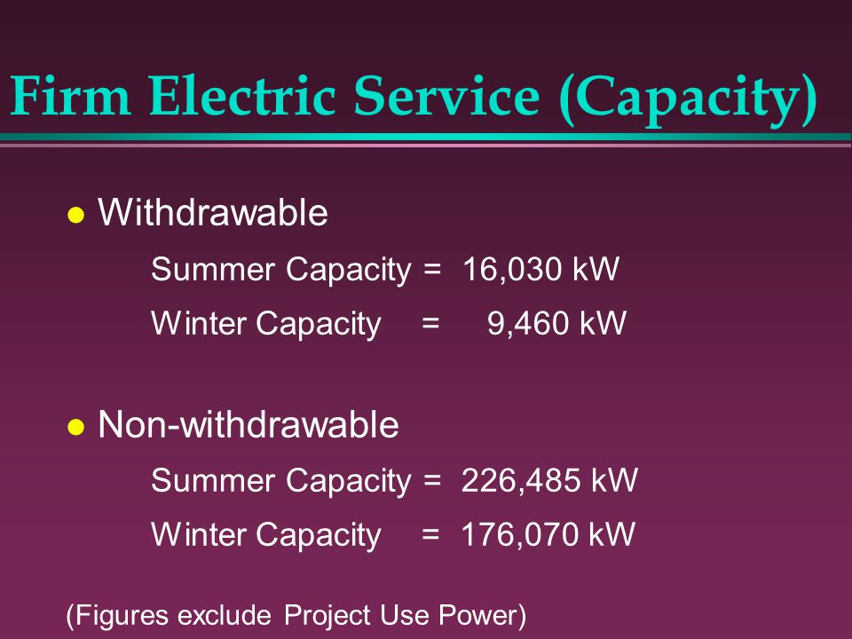 Firm Electric Service (Capacity)
