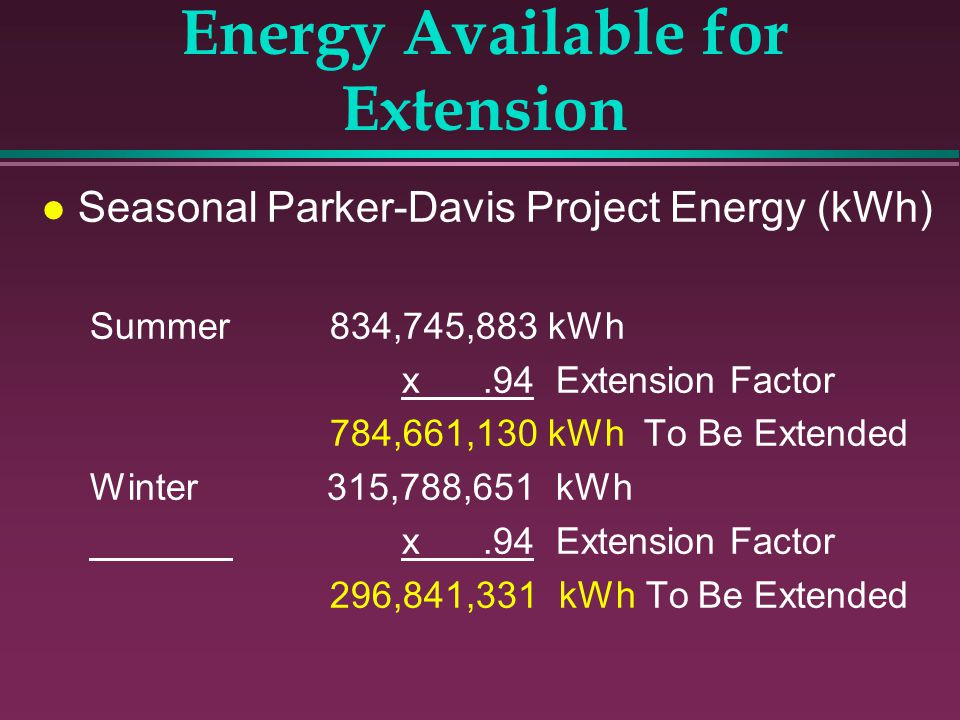 Energy Available for Extension