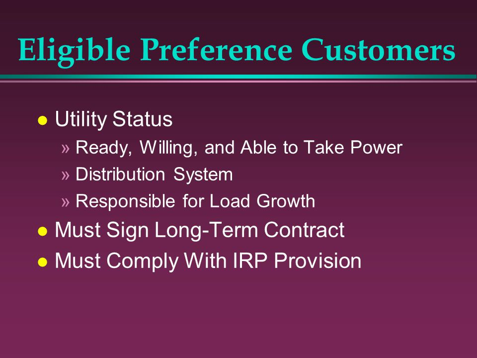 Eligible Preference Customers