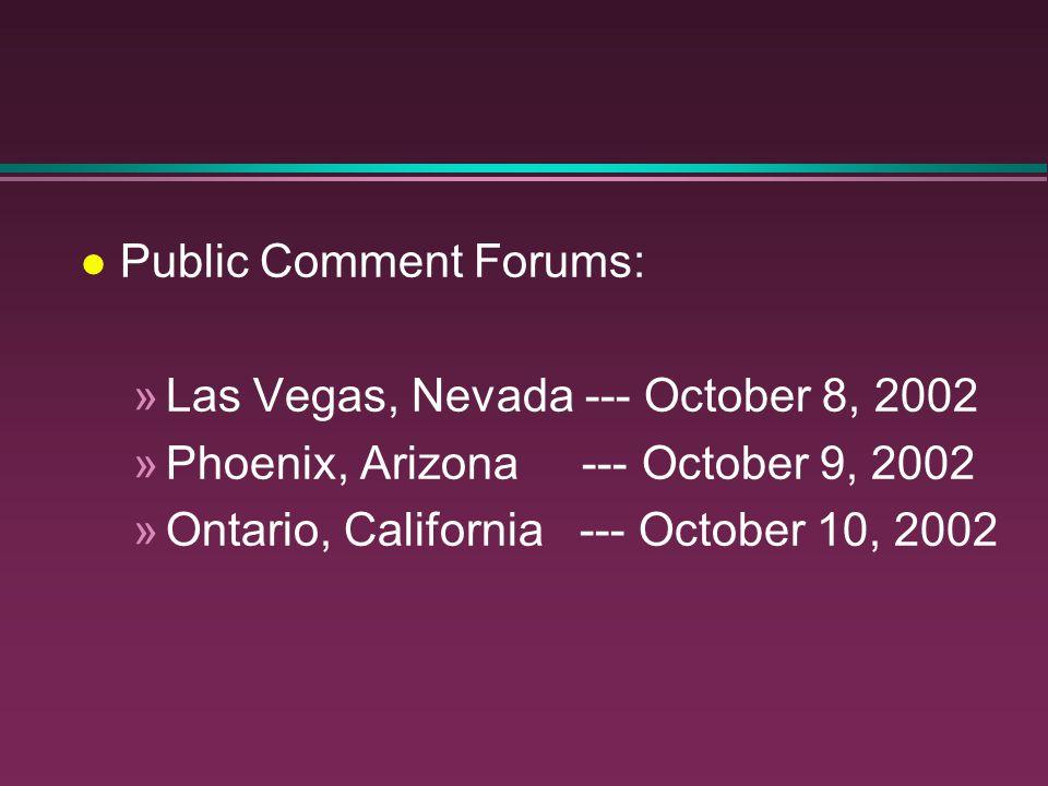 Public Comment Forums: