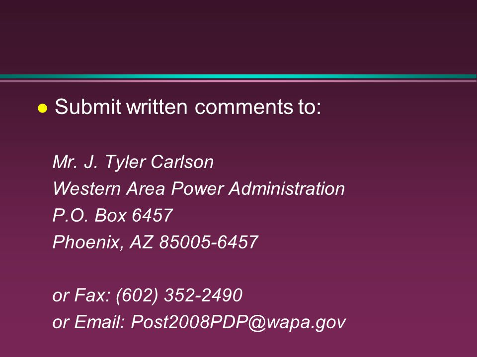 Submit written comments to: