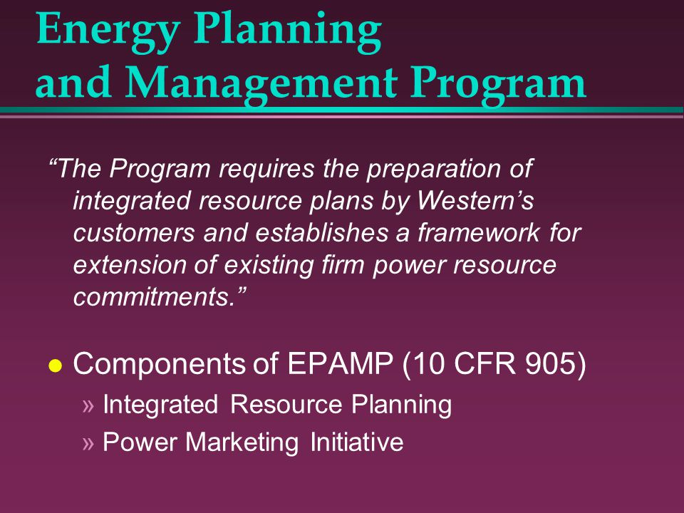 Energy Planning and Management Program