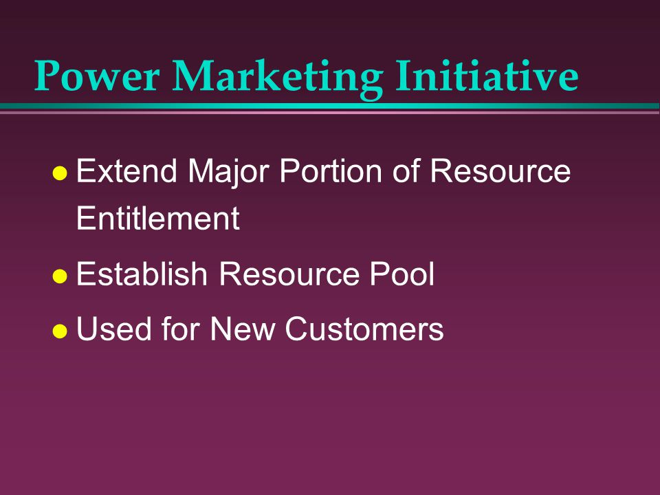 Power Marketing Initiative