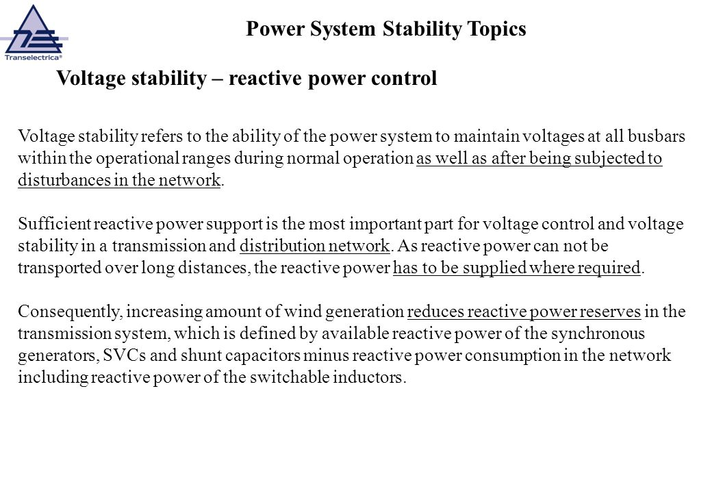 Power System Stability Topics
