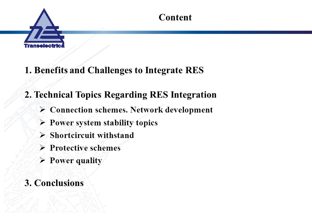 1. Benefits and Challenges to Integrate RES