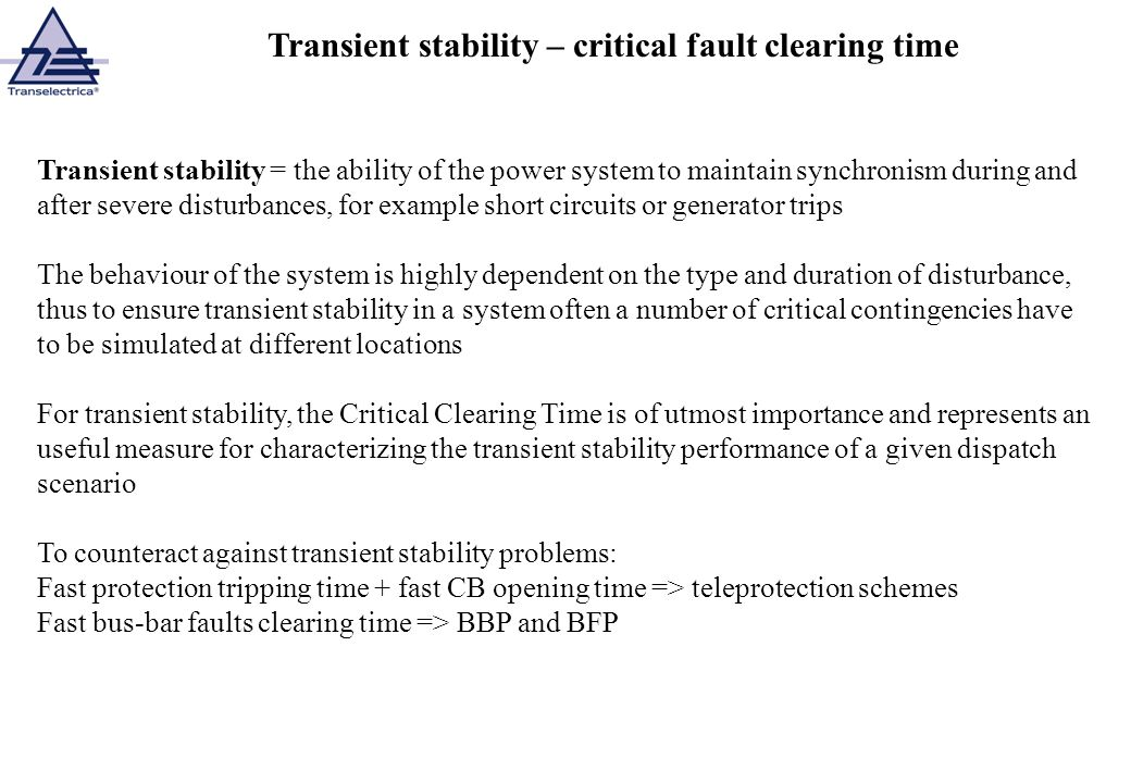 Transient stability – critical fault clearing time
