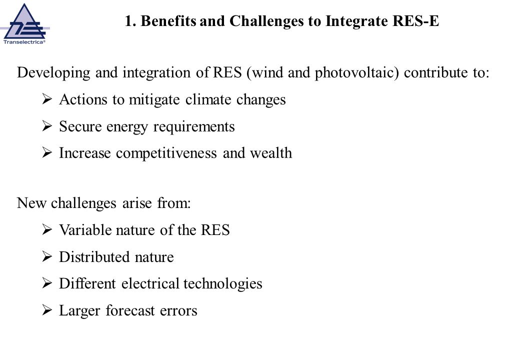 1. Benefits and Challenges to Integrate RES-E
