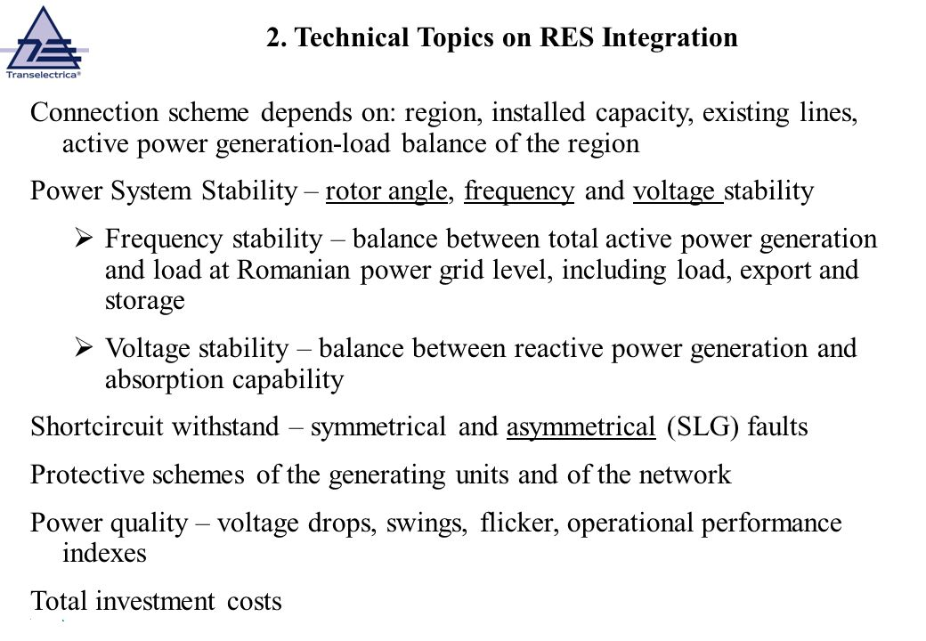 2. Technical Topics on RES Integration