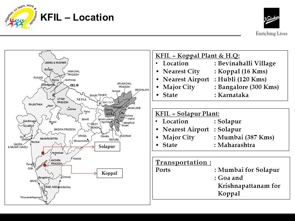 KFIL – Location KFIL – Koppal Plant & H.Q: