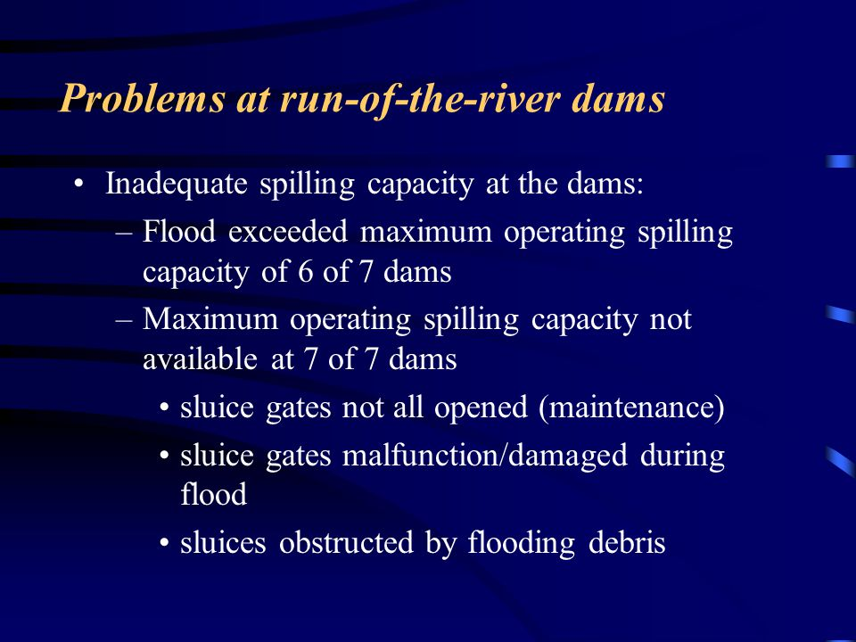 Problems at run-of-the-river dams