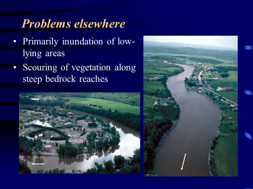 Problems elsewhere Primarily inundation of low-lying areas