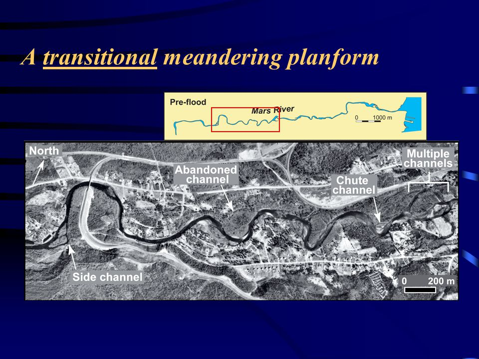 A transitional meandering planform