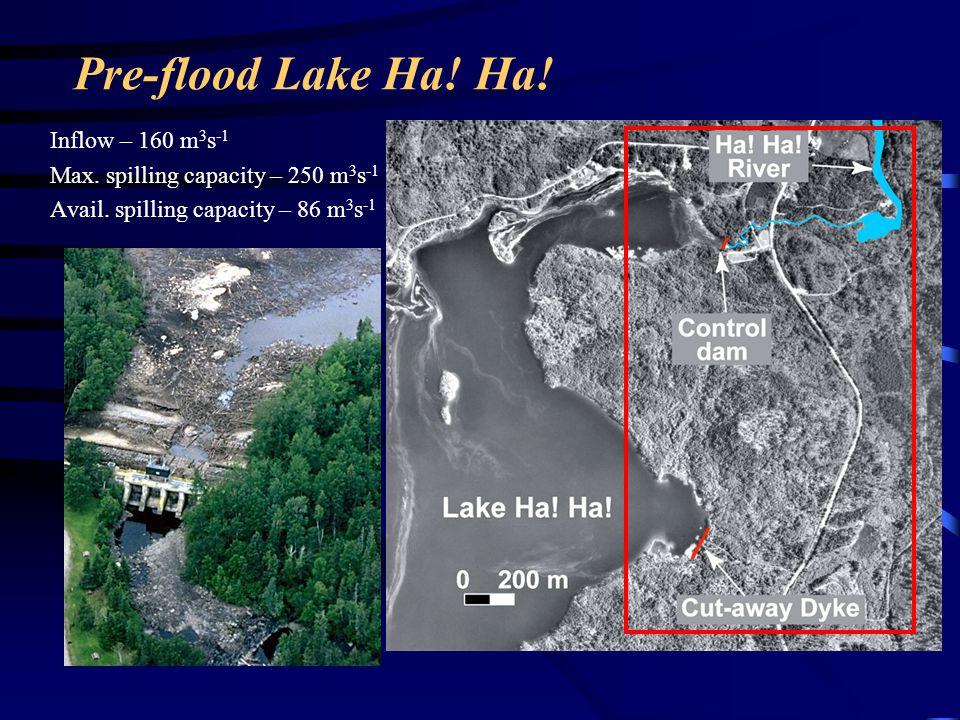 Pre-flood Lake Ha! Ha! Inflow – 160 m3s-1