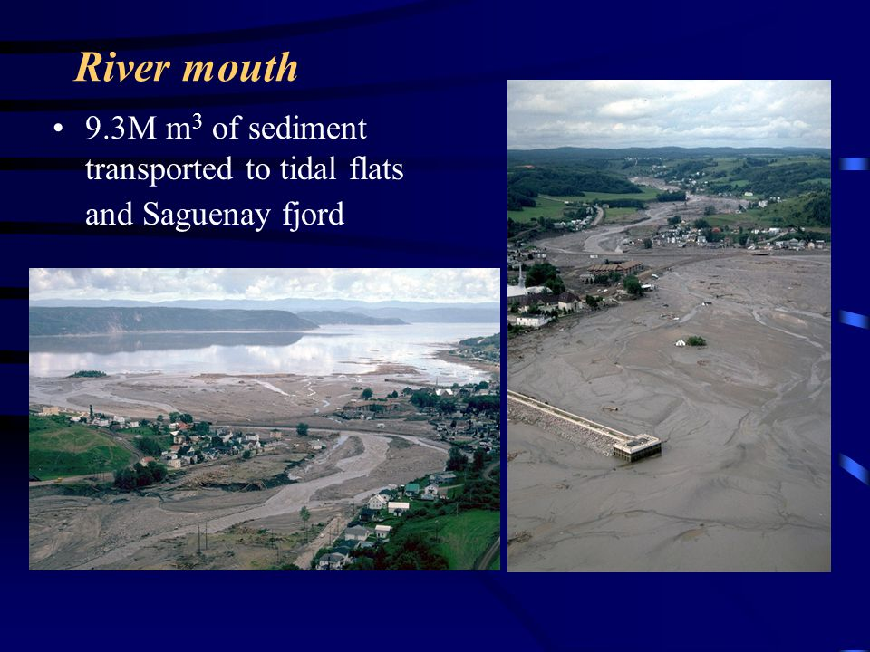 River mouth 9.3M m3 of sediment transported to tidal flats and Saguenay fjord