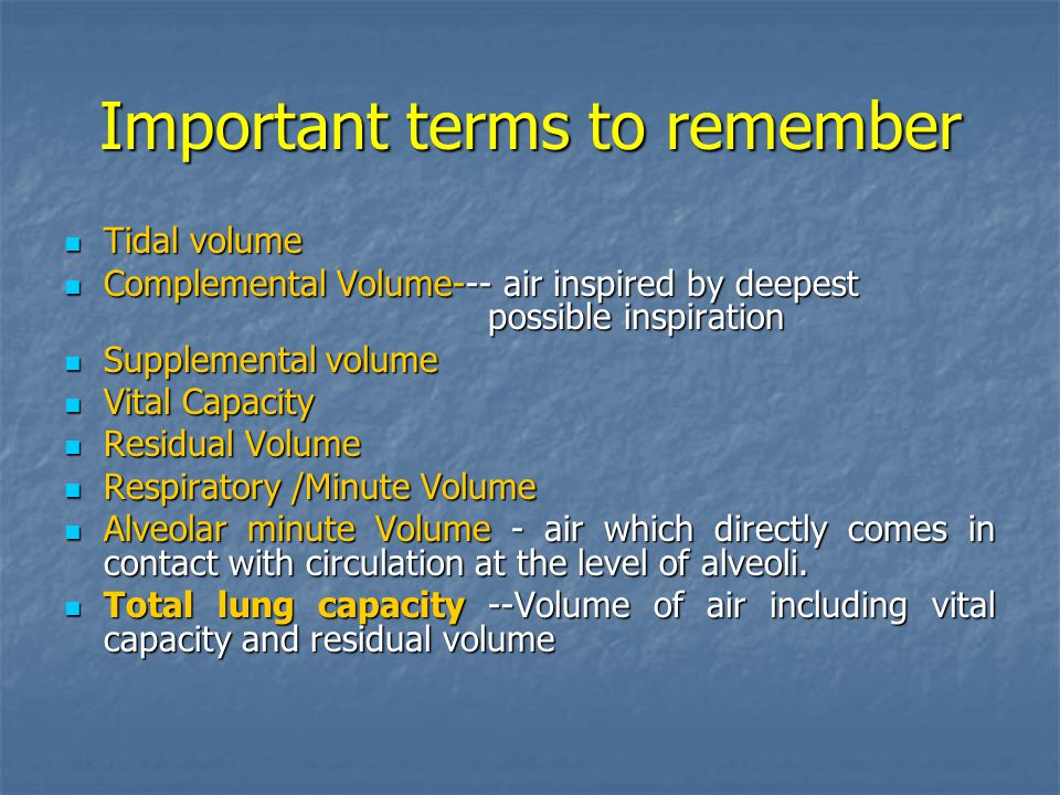 Important terms to remember