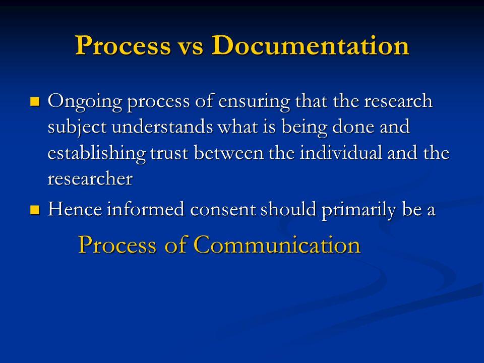 Process vs Documentation